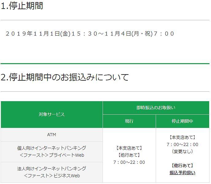 富山第一銀行の全銀システム休止期間中の他行への振込および他行からの振込スケジュール