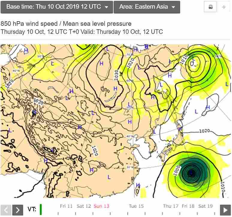 台風19号2019のヨーロッパ欧州ECMCWFによる最新情報