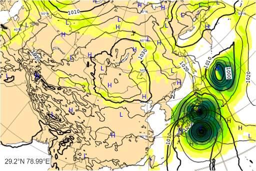 台風19号2019のヨーロッパ欧州中期予報センターの進路予想図