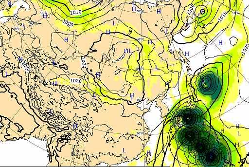 台風19号2019のヨーロッパ欧州中期用法センターの最新進路予想図